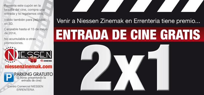 Cupón cine 2x1 abril