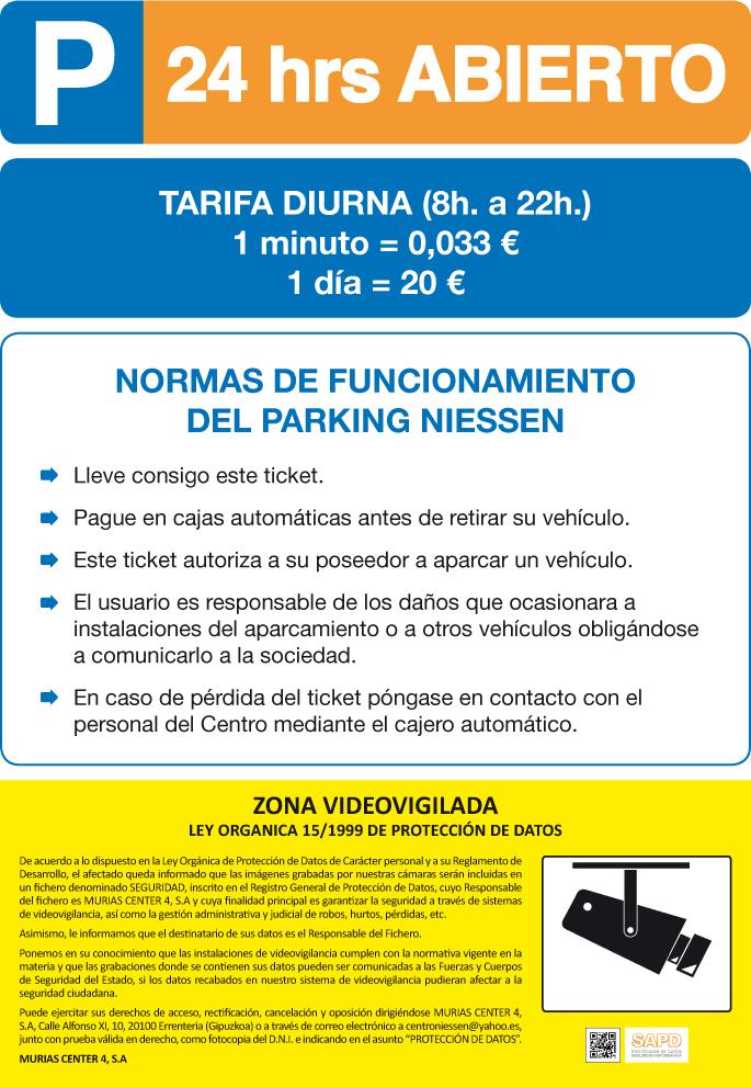 Tarifas parking 2015 cas
