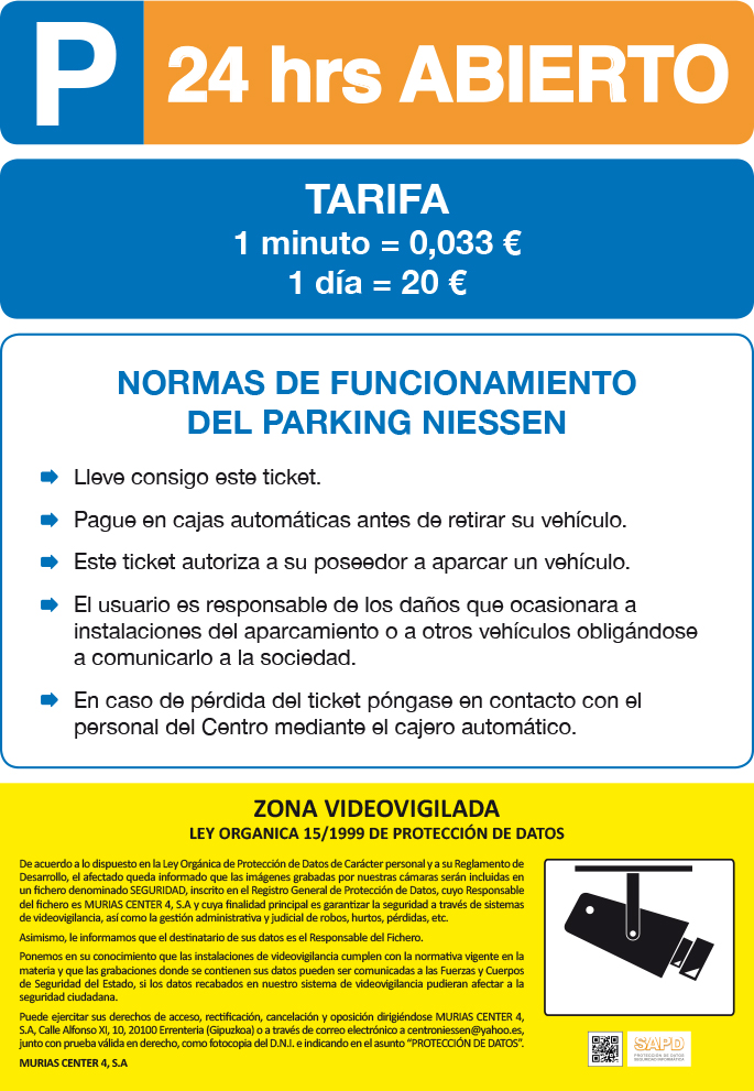 Tarifas parking 2015 cas